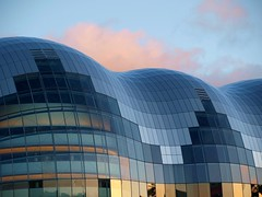 Pink Cloud Over  The Sage - Concert Hall - Gateshead (Gilli8888) Tags: windows abstract glass architecture clouds buildings river newcastle patterns curves sage tyne gateshead curved quayside concerthall rivertyne thesage portoftyne