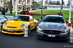 Porsche Delavilla VRS 997 GT3 & Mercedes CLS 63 AMG with Stealth GSC Wide Body Kit (piolew) Tags: paris de mercedes hotel with body top wide casino monaco 63 mc porsche stealth gsc kit carlo monte marques amg cls gt3 997 vrs 2013 delavilla tm13
