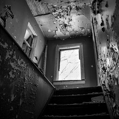Murder House Creepy Stairs (red_dotdesign) Tags: bw house abandoned stairs decay farm grime rurex