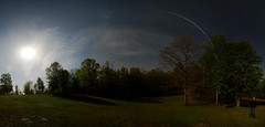 The Space Station over a Moonlit Meadow (davidmurr) Tags: panorama moon space satellite astrophotography spacestation iss widefield internationalspacestation