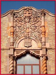 Architectural Sculpture at Roofline: Thomas M Cooley High School--Detroit MI (pinehurst19475) Tags: city school urban architecture justice closed forsale michigan terracotta detroit highschool baroque architects cooley dps publicschool michigansupremecourt architecturalsculpture decorativedetail detroitpublicschools cooleyhigh donaldsonandmeier spanishrenaissance cooleyhighschool thomasmcooleyhighschool hubbellroad thomasmcooley cooleycardinals nrhpnominated justicethomasmcooley justicecooley