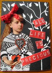 ATC All life is precious 280413 Traded (ladychiara) Tags: life red blackandwhite tree bird girl atc collage hearts cutandpaste tangles