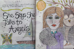 She talks to angels... (Kathy@dornickdesigns) Tags: artjournal girldrawing owldrawing talkstoangels artjornaling kathyhardyphotography artofkathyhardy