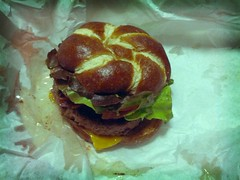 hole in the wall burger with pretzel bun (shinnygogo) Tags: california beer dinner santamonica burger cheeseburger flickrandroidapp:filter=tokyo