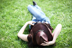 3/365 ~ Let us live for the beauty of our own reality.  Charles Lamb (sharona 315 사론아) Tags: woman 3 me girl beautiful grass hat spring cowboy day boots jeans yeehaw project365 saveahorserideacowgirl ididnotaddthoselasttagsash