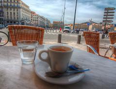 Vieux Port Cafe (marcovdz) Tags: new france cup tasse coffee caf marseille cafe terrace terrasse provence nouveau hdr vieuxport lasamaritaine 3xp