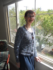 finished cardigan from re-purposed coat yarn (Thevina) Tags: spring knitting yourstruly 2013 repurposedyarnproject