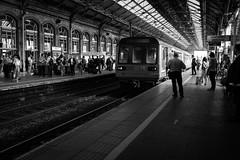 2016_201 (Chilanga Cement) Tags: fuji fujix100t x100t xseries x100s x100 bw blackandwhite people station train lines