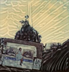 Give A Shit (tobysx70) Tags: polaroid sx70 sonar emulsion manipulation time zero tz instant film give a shit los angeles la california ca graffiti wheat paste billboard urban street art womaninablue dress blue toby hancock photography