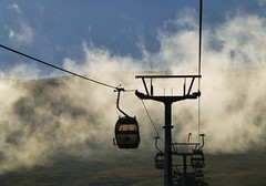 Up above the clouds so high..x (lisa@lethen) Tags: cable car fort william scotland mist cloud weather