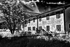 abandoned fear house (marcobertarelli) Tags: abandoned fear house ghosts hdr black bw white shadow sharp stop light old ancient history human life unlive after trepassing heaven clear sky clouds