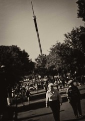 The Dark Tower (TwinCitiesSeen) Tags: minnesota minnesotastatefair twincities twincitiesseen fair statefair saintpaul canont3i tamron2875mm blackandwhite people