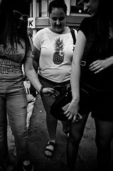 Pineapple (stimpsonjake) Tags: nikoncoolpixa 185mm streetphotography bucharest romania city candid blackandwhite bw monochrome girls pineapple