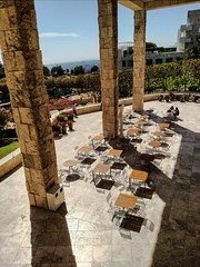 Terrace at The Getty (Thad Zajdowicz) Tags: architecture thegetty museum outdoor 365 3665 columns stone sky furniture zajdowicz losangeles california cellphone photoshopexpress availablelight