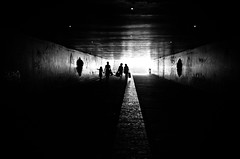 """In This Sign of the Cross, Conquer"" (stimpsonjake) Tags: nikoncoolpixa 185mm streetphotography bucharest romania city candid blackandwhite bw monochrome cross tunnel dark shadows highcontrast"