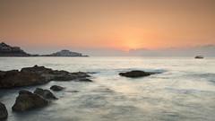 Pescola destination (explore) (Rafael Dez) Tags: espaa castellon peiscola verano sunrise amanecer agua mar rafaeldez paisaje filtro rocas sol nubes