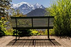 Invitations... (J&S.) Tags: france hautesavoie montblanc montagne plateaudassy contemplation banc jardin cime tranquilit calme nature paysage ombre soleil 4807