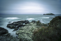 Godrevy Lighthouse on a dull day (Dixie Deane) Tags: godrevylighthouse coast storm longexposure leebigstopper cornwall sea ocean rocks lighthouse leefilters gwithian distagont2821ze zeiss