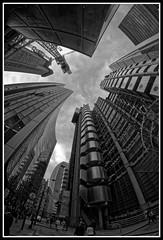 Lloyd's Building looking upwards (jim_2wilson) Tags: rokinon8mmf35 sonya77 jimwilson london wideangle fisheye lloydsbuilding bw dxoopticspro