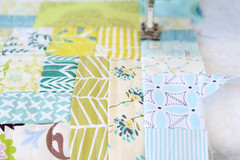 quilt-as-you-go with the scraps from my summer quilt (balu51) Tags: patchwork sewing stashsewing scraps quilting machinequilted quiltasyougo qayg wip panel green yellow cream white paleblue teal summerquilt september 2016 copyrightbybalu51