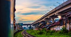 And Finally ..... (mithila909) Tags: streetphotography landscape cityscape train bridge railline people sky cloud