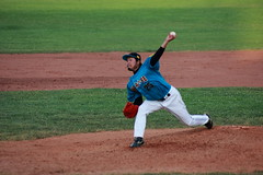 Santa Fe Fuego Baseball (Sacker Foto) Tags: baseball game pitcher grass green red white blue cap asian pecosleague new mexico dirt mound stride release torque rotation infield