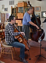 Making Beautiful Music (Cooling Down Again Yay!!!) Tags: odc thesehumans musicians cello bass quinn stu rehearsing playing wooden instruments