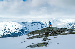 Girl hiking in the mountains (oleksandr.mazur) Tags: adventure alone alpine altitude cloud cloudy cold crag frost frozen girl glacier high highland hiking hill ice icecap landscape lonely mountain mountaineering nature nordic north norway outdoors overcast people rock slope snow snowcapped snowy stone tourism tourist travel trekking vacation white winter