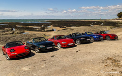 Family Portrait (RomainBihore) Tags: mazda mx5 miata eunos roadster na nb nbfl nc ncfl nd mk1 mk2 mk3 mk4 cabriolet convertible club mx5france clubmx5france loireatlantique 44 pornic saint brvin ocan atlantique ocean sea atlantic sky blue red black green all generations famille family wheels compomotive enkei bride mazdaspeed rotrex canon eos 600d rebel t3i sigma 1750mm f28 paysage landscape france car voiture coches cars voitures coche