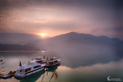 | Heaven on Earth (Sunrise) (moon Symphony) Tags: lake mountains sunrise reflections spring taiwan nikkor  sunmoonlake nantou d600 moonsymph