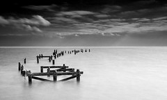 Old Swanage Pier (JamboEastbourne (moving to 500px shortly)) Tags: old england bw white seascape black rotting pier wooden swanage dorest