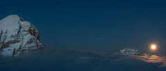 The moon and the Lady (Guido Pompanin) Tags: snow landscapes neve dolomites dolomiti panorami panoramilagazuoi