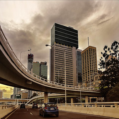the m3 inbound from the passenger's seat (Fat Burns) Tags: city skyline landscape cityscape motorway australia brisbane freeway queensland australianlandscape brisbanecity cityskyline