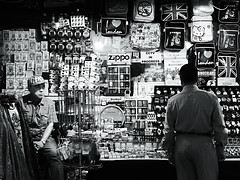 another long day at the office (fotobananas) Tags: street london shop pen streetphotography olympus souvenir vendor ep1 fotobananas