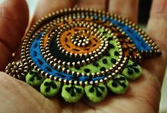 Free form brooch (woolly  fabulous) Tags: green wool brooch felt zipper lime paisley embroidered freeform woollyfabulous