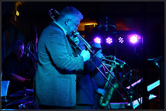 Mark Nightingale on Trombone. Band- Sound of BlueNote Featureing Mark Nightingale at Centre Stage (Coolcats100) Tags: uk england music canon europe mark stage centre band trumpet jazz dorset sound april trombone sax bournemouth jazzclub rath bluenote tenorsax nightingale tenor westbourne centrestage 2013 marknightingale canon650d featureing
