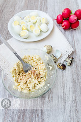 Quail Eggs Paste 01 (Cristian Sabau | Photography) Tags: wood food vertical photography leaf raw rustic nopeople indoors slice snack romania half buffet transylvania foodanddrink chive quail healthyeating boiledeggs quailegg colorimage highangleview animalegg