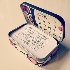 altered altiod tin #2 (LethaColleen) Tags: pink white black floral handwriting altered square nashville calendar blossom assemblage text numbers squareformat tins pinkandwhite handprinted blackpink papercutting alteredtins iphoneography alteredaltoids instagramapp uploaded:by=instagram