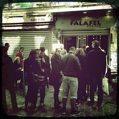 Falafel queues (vieweronline) Tags: paris france mobile camphone photography phone cell line queue area jewish falafel marais iphone hipstamatic uploaded:by=flickrmobile flickriosapp:filter=nofilter