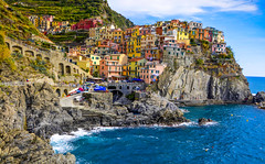 Manarola - Cinque Terre (fede_gen88) Tags: blue houses sea italy water marina coast nikon rocks colorful mediterranean italia colours village five liguria explore terre coastline colourful lands manarola cinque ligurian d5100
