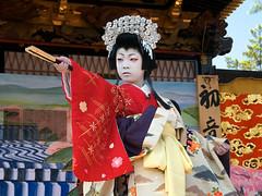 Children kabuki theater in Nagahama (lady Shizuka, 10 y.o.) (lensonjapan) Tags: boy portrait face festival japan court children japanese fan theater theatre expression performance young makeup dancer kabuki wig  actor kimono posture kansai matsuri nagahama    shigaken     shirabyoshi