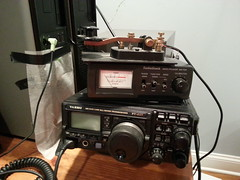 Tomorrow I try CW (ryanbytes) Tags: radio see key meter yaesu hamradio straightkey 897 flickrandroidapp:filter=none