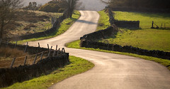 not roman (robwiddowson) Tags: england english evening countryside warm colours shine angle bend derbyshire beautifullight curve shilito beautifulroad