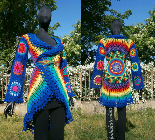 Crochet Coat - Dark Blue Aztec Sun Mandala With Granny Circles To Squares Sleeves