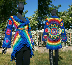 Crochet Coat - Dark Blue Aztec Sun Mandala With Granny Circles To Squares Sleeves (babukatorium) Tags: pink blue red orange flower color green art wool fashion yellow vintage circle square star sweater rainbow colorful warm purple recycled handmade lace turquoise teal burgundy oneofakind coat crochet moda violet style mandala retro daisy hippie psychedelic applique cardigan bohemian multicolor octagon whimsical darkblue mitts ruffle haken hkeln emeraldgreen croch grannysquares ganchillo royalblue fuxia uncinetto fattoamano lam  tii horgolt uvgreen babukatorium