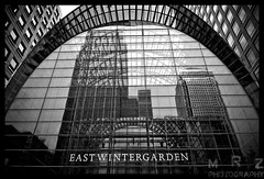 East Wintergarden (Zakapi0r) Tags: uk blackandwhite bw white black reflection london tower glass architecture canon district steel centre east business wintergarden wharf canary tamron financial modernarchitecture e14 anglia hamlets glassbuilding engalnd londyn tamron1750 eastwintergarden canon40d tamronspaf1750mmf28xrvcdiiildasphericalif
