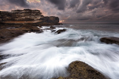 Potter Point (stevoarnold) Tags: longexposure storm clouds sunrise nationalpark rocks sydney australia nsw capesolander sutherlandshire potterpoint