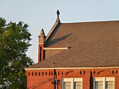 St Mary School Roof and Celtic Cross (jannetie) Tags: park railroad school trees sunset red brick green water train reflections garden newjersey twilight cross pennsylvania bricks wroughtiron traintracks lawn bank trains stainedglass nuns monastery smokestack crucifix tugboat slate convent barge stmaryschurch redoak hilltop roadwork celticcross brickwork churchst mercercounty delawareriver flemishbond yachtclub railroadtracks barges methodistchurch paddlewheeler railroadtrestle assistedliving slateroof presbyterianchurch etchedglass crosswickscreek burlingtoncounty pennsylvaniarailroad trentonnj duckisland stmarysschool firehousegallery seniorliving bordentownnj poorclare lockkeepershouse englishbond poorclares burlingtonst delawareandraritancanal farmersandmechanics farnsworthave firstlock yapewiaquaticclub farnsworthavenue appshardware boatclubhouses juanitacrosby crosswicksstreet