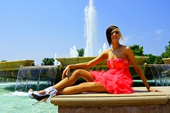 Alaura on Fountain (Tessdel) Tags: water fountain girl dressedup teen prom stilletos