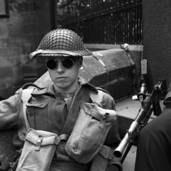 Machine Gunner (Julian Dyer) Tags: vintage blackwhite yorkshire haworth ilfordfp4 ilfordddx mamiyac330f mamiya80mmf28 haworth1940sweekend